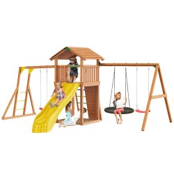 Детский городок Jungle Gym ungle Cottage + Rock +SwingModule Xtra с гнездом + Рукоход